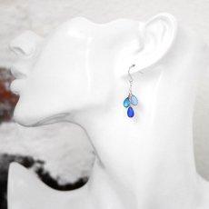 3種類のカラーが美しいティアドロップピアス047(シルバー)[両耳