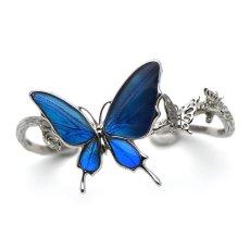 ブルーのグラデーションが美しい蝶のバングル034(シルバー)