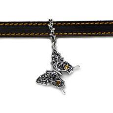 アゲハ蝶の限定レザーチョーカー/ブレスレット(ブラック/キャメル)
