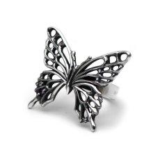 アゲハ蝶の2つの宝石が選べる大ぶりなシルバーリング[誕生石]【Ageha|アゲハ】