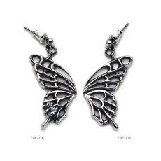 アゲハ蝶の2つの宝石が選べる片羽根シルバーピアス