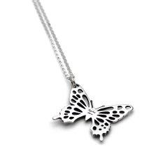 アゲハ蝶の2つの宝石が選べる斜め吊りタイプのペンダント[誕生石]【Ageha|アゲハ】