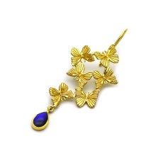 6匹の小さな蝶と揺れる雫のピアス(ゴールド)[片耳]【Psyche プシュケ】