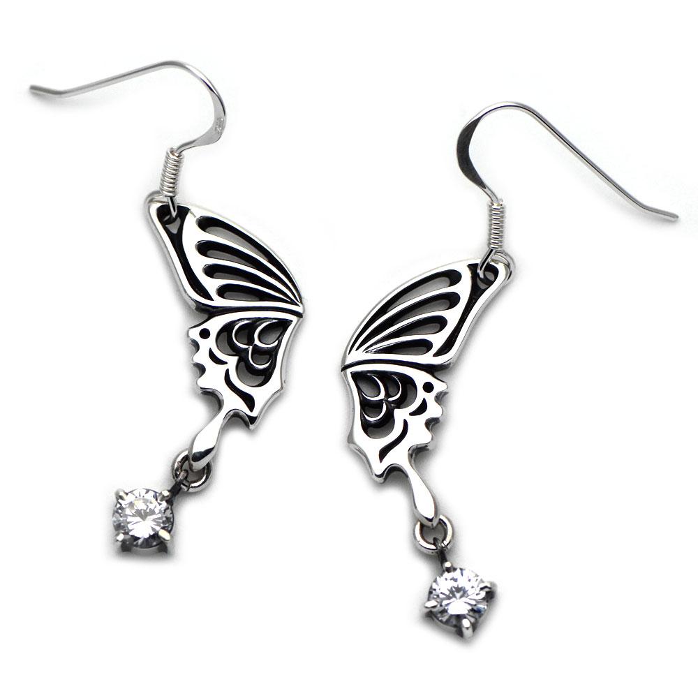 アゲハ蝶の片羽根とストーンチャームのピアス083【Ageha|アゲハ】