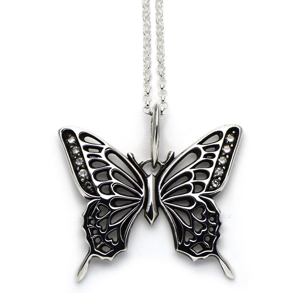 アゲハ蝶の透かし模様のシルバーペンダント クリアジルコニア
