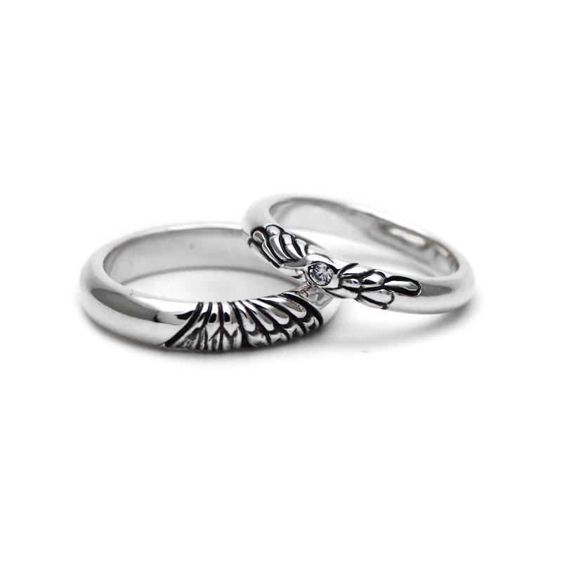 アゲハ蝶がデザインされたシルバーペアリング