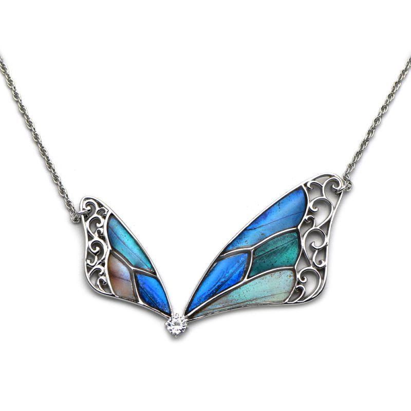 4種の美しい蝶の羽の両吊りタイプペンダント(シルバー)【Psyche プシュケ】